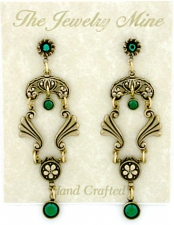 Vintage Victorian Style Emerald Austrian Crystal Chandelier Fashion Earrings