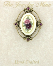Vintage Reproduction Victorian Style Brooch - Porcelain/Flowers Stone