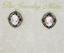 Vintage Inspired Victorian Style Cameo Button Earrings - Pink